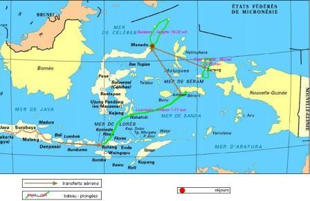 notre périple : 1ère carte établie en avril 2009