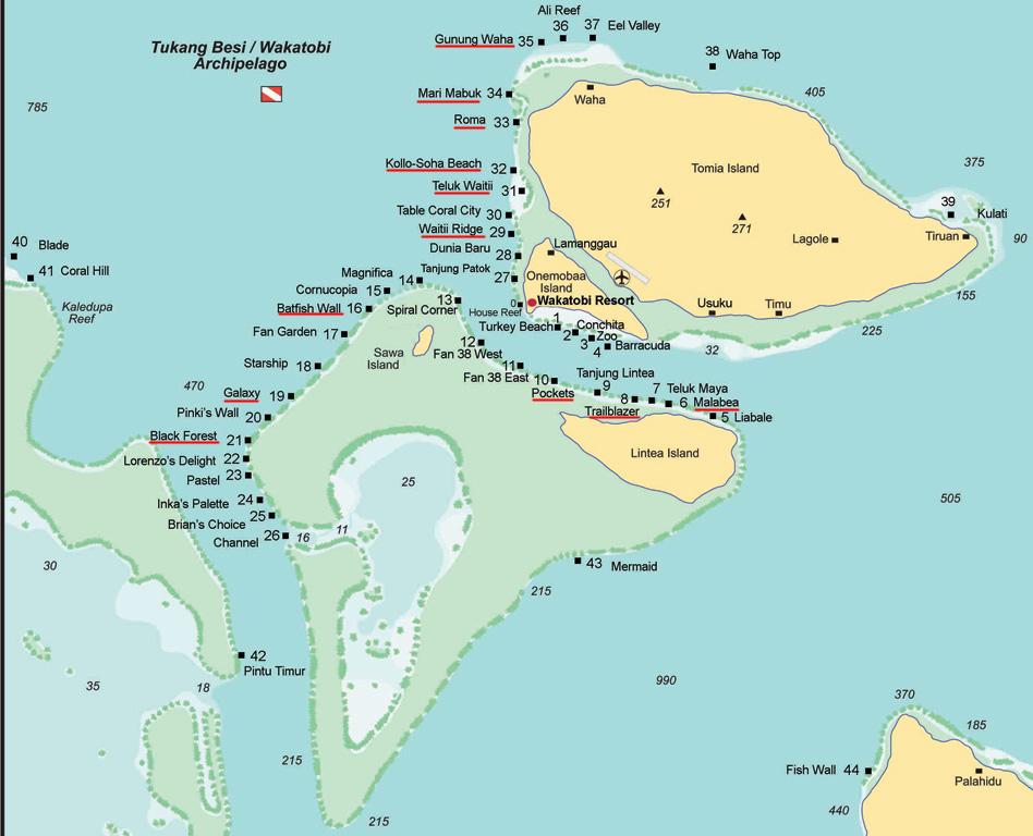 Wakatobi (Tukangbesi) - Sites de plongée