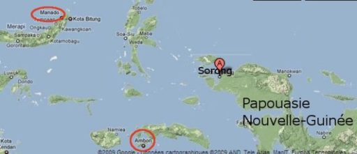 Situer Ambon, Manado, Sorong