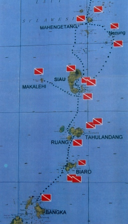Carte des sites de plongée (circuit Sulawesi Nord) - Wallacea